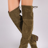 Breckelle Vegan Suede Lace Up Back Over The Knee Boots
