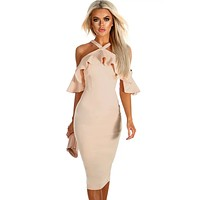 Nude Frill Cold Shoulder Midi Dress