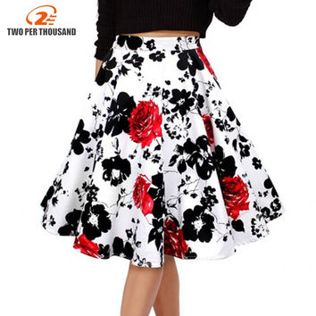 50s Vintage Woman Retro Red Rose Flower Bouquet Floral Print High Waist Midi Skirts Mid-Calf Long Saia Feminina Ladies Skirt