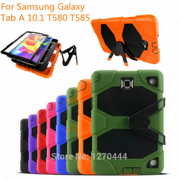 For Samsung Galaxy Tab A 10.1 SM-T580 T585 Tablet Heavy Duty Rugged Impact Hybrid Case Kickstand Protective Cover+film+pen+OTG