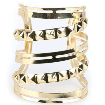 Golden Stud Embellishment Caged Open Bracelet