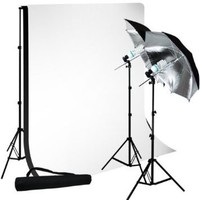 IvationStudio Photography Photo Video Continuous Lighting Kit, 10ft Background Support, With Black and White 10 X 10 Muslin Backdrops,