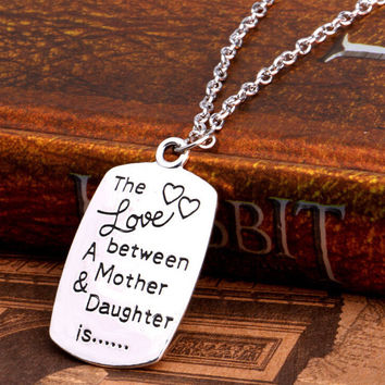 The Love Between a Mother and Daughter Engraved Pendant Necklace Jewelry+ Gift Box