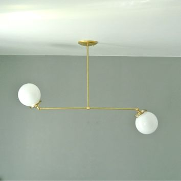 Articulating Double Glass Globe Chandelier