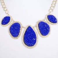 Hot Sale Dark Blue Druzy Drop Stone Statement Necklace, Gold Tone Crystal Rhinestone Bib Necklace-126756093