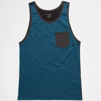 Blue Crown Color Block Mens Pocket Tank Heather Blue  In Sizes