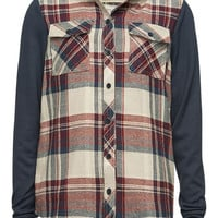 Full Tilt Girls Hooded Flannel Shirt Burgundy  In Sizes