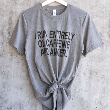 distracted - I run entirely on CAFFEINE & Anger Funny unisex tshirt - heather grey
