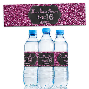 Pink Sweet 16 Decor - Pink Glitter Sweet 16 Water Bottle Labels - Pink Sweet 16 Party Favors - Personalized Party Favor - Custom