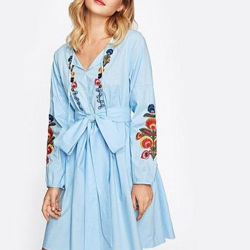 Tie Neck Lantern Sleeve Embroidered Smock Dress Dress Blue V Neck Long Sleeve Knee Length A Line Dress