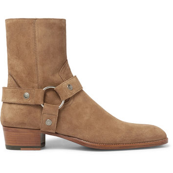 Saint Laurent - Wyatt Suede Harness Boots