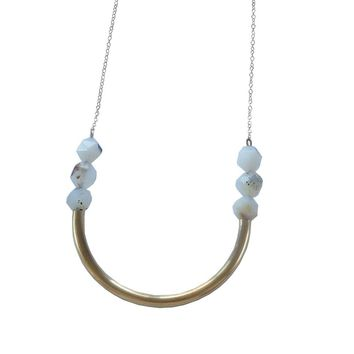Brass Semi Circle Geometric Necklace