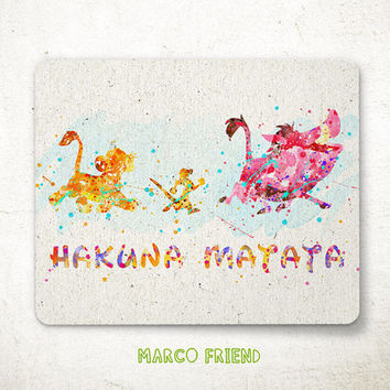 Timon & Pumbaa Mouse Pad, Hakuna Matata Watercolor Art, Mousepad, Office Decor, Gift, Art Print, Desk Deco, Computer, Disney Accessories