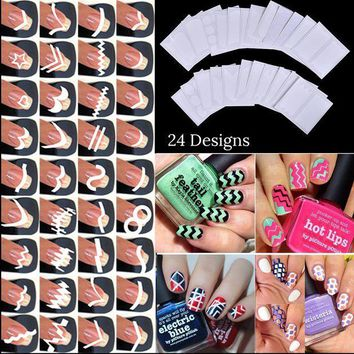 CREYEB2 24pcs/set Nail Art Guide Tips Hollow Stencils Sticker French Manicure Template 3D Vinyls Decals Form Styling Tool