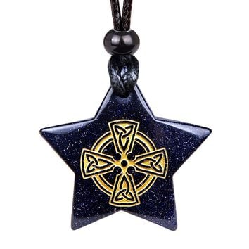 Magical Super Star Viking Celtic Cross Circle Amulet Goldstone Lucky Charm Pendant Necklace