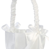White Pleated Matte Satin Covered Flower Girl Basket with Pearl Centered Ribbon Bows