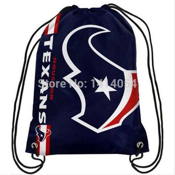 Houston Texans Drawstring Backpack 35x45CM NFL Digital Printing Polyester Custom Sports Backpack, free shipping