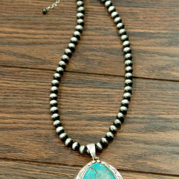 Western Naja Natural Turquoise Pendant Necklace