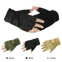 Military Half-finger Fingerless Tactical Airsoft Hunting Riding Cycling Gloves Black