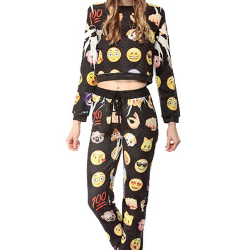 Emoji Print Quilted Jogger Pants