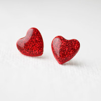 Red Glitter Hearts Stud Earrings