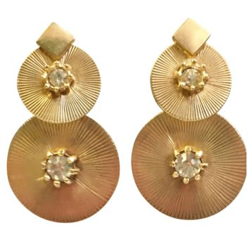 Goldtone Double-circle Clip-back Earrings with Crystal Rhinestones