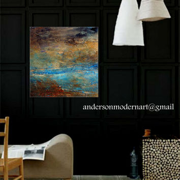 Large Wall Art Metal Print of  Original Abstract Landscape Painting RUSTIC by Holly Anderson