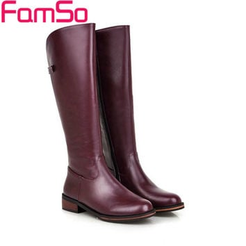 Plus Size34-43 2017 New Sexy Women Boots Black red Autumn Knee High Boots Waterproof Winter Female Leather Snow Boots SBT2759