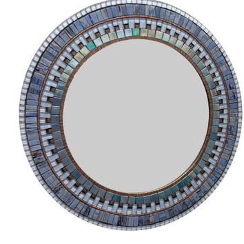 Blue and Copper Wall Mirror / Round Mosaic Mirror