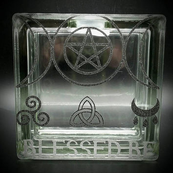 Wiccan Decal Glass Block Piggy Bank Vinyl Decal Savings Black Silver Glitter Vinyl