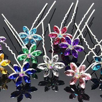 PEAPU3S 10pcs/lot  Hair Accessories Simple Fashion Hair Pins Six leaves colored rhinestone party Hairpins Women Hair Jewelry H-48