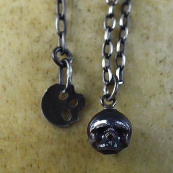Hand Carved Black Pearl Skull on Oxidized Sterling Silver Chain with Skull Charm - Adjustable Necklace - Holiday Jewelry