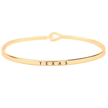 Texas Engraved Brass Hook Bracelet in Gold by Country Club Prep