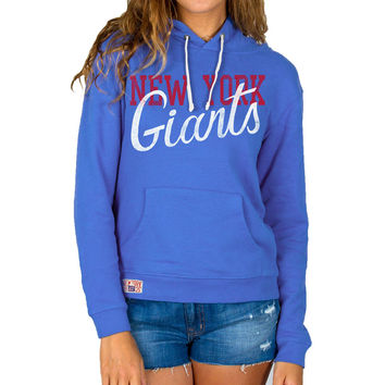 Women's New York Giants Junk Food Royal Blue Sunday Pullover Hoodie