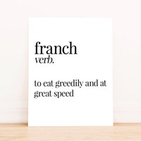 Printable Art Franch Definition Typography Kitchen Poster Home Decor Apartment Art