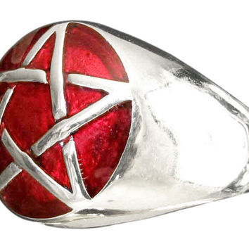 Sterling Silver Pentacle Ring Celtic Pentagram Wicca Symbol with Red Enamel