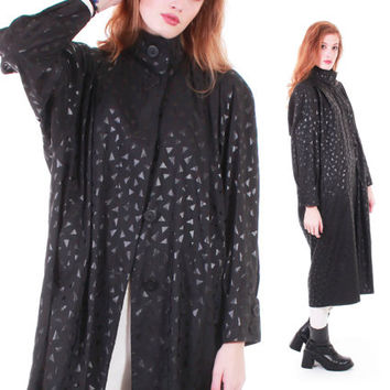 80s Vintage Iridescent Black Nylon Coat Vision USA Raglan Batwing Long Raincoat Oversized Minimalist Goth Winter Jacket Women Size Large XL