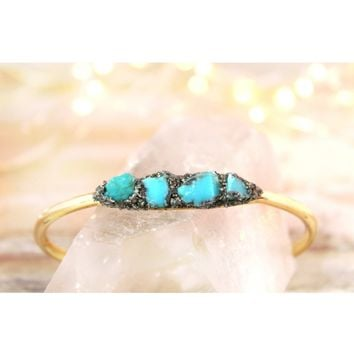 Raw Turquoise December Birthstone Gemstone Bracelet