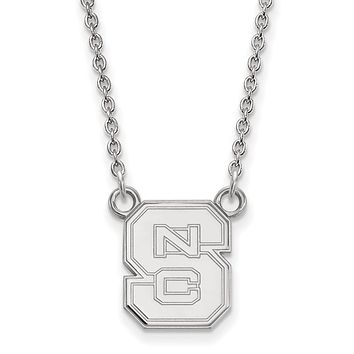 NCAA 10k White Gold North Carolina Small 'NCS' Pendant Necklace