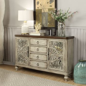 Acme 90288 Vermont antiqued white finish wood bombay chest with mirror front