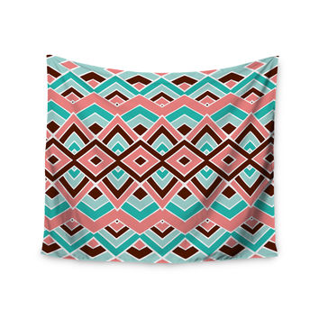 """Pom Graphic Design """"Eclectic"""" Peach Teal Wall Tapestry"""