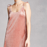 Self-Tie Velvet Cami Dress
