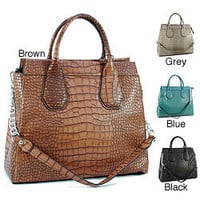 Dasein Faux Leather Embossed Croco Satchel | Overstock.com