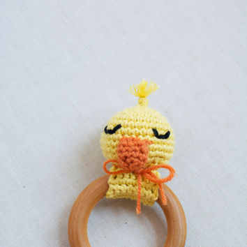 Baby Rattle Teething Toy - Crochet Duck Teether - Organic Maple Wood Teething Ring