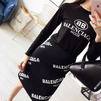 Balenciaga Women Letter Pattern Print Bodycon Long Sleeve Sweater Tops