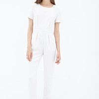 FOREVER 21 Short-Sleeved Crepe Jumpsuit