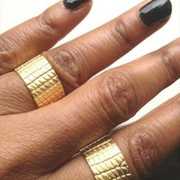 2 Gold Wide Cuff Rings - Mock Croc Design from azteclovers