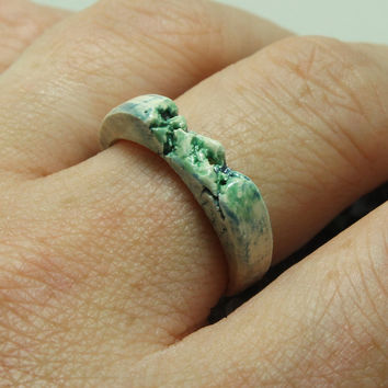 Ceramic Ring Pottery ring Size 7 1/4 blue and green Unique jewelry R40