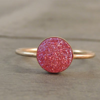 Hot Pink Quartz Druzy Gold Ring. Druzy Stacking Ring with Ring Band Options. Sparkly Layer Ring. Eye catching. Made to order