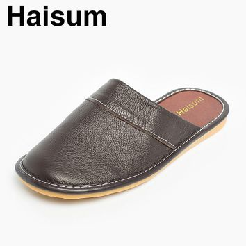 2017 Men's Indoor/Outdoor Leather Slippers Haisum Luxury Novelty Closed Toe Slip On House Sandals tb008